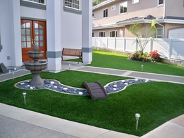 artificial turf backyard. Landscaped Synthetic Lawn With Bridge Artificial Turf Backyard